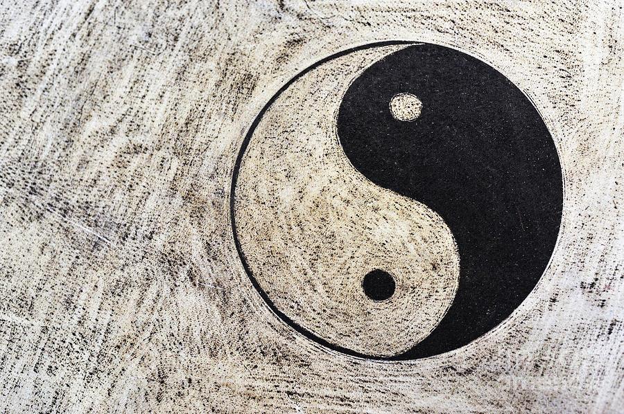 Spirituality Photograph - Yin And Yang Symbol On Drum by Sami Sarkis