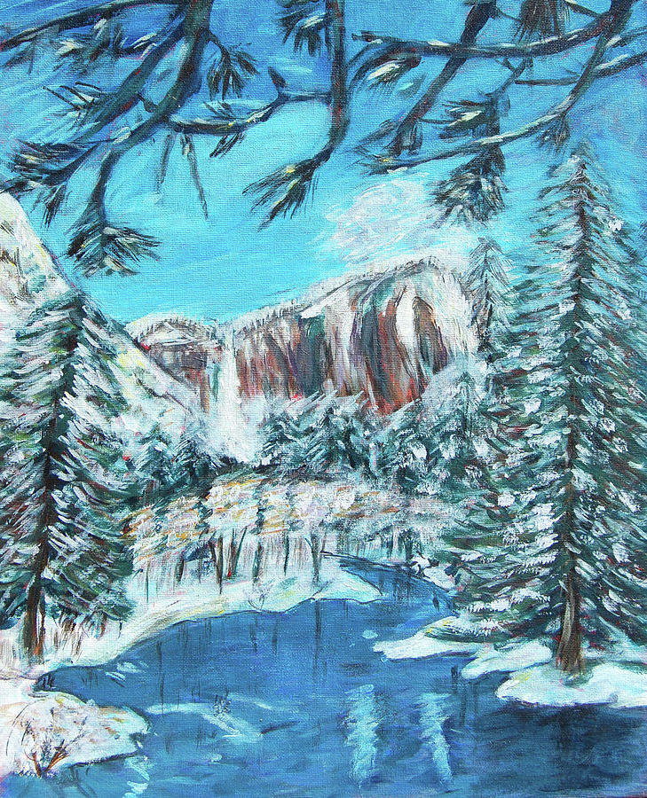 Yosemite Painting - Yosemite In Winter by Carolyn Donnell
