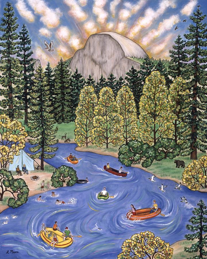 Folk Art Landscape Painting - Yosemite National Park by Linda Mears