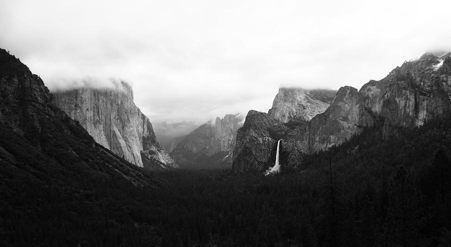 Yosemite Waterfall Waterfalls Water Black White Clouds Intense Green Tree Trees Rocks Mountains Hills  Pyrography - Yosemite by Ricky Sandoval