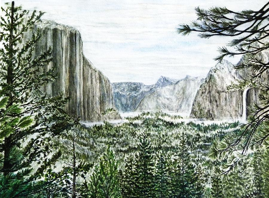 Yosemite The Tunnel El Capitan Mountains High Sierras  Painting - Yosemite ... The Tunnel by G H Hisayasu