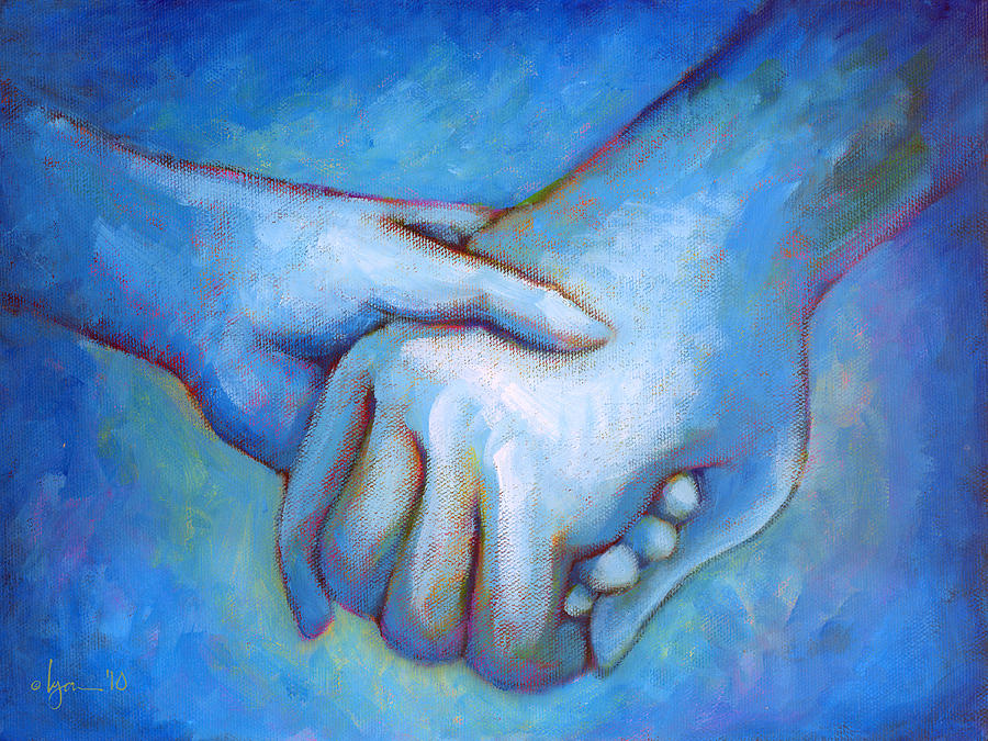 Hands Painting - You And Me by Angela Treat Lyon