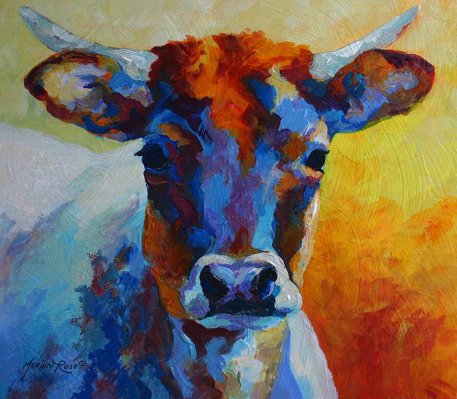 Western Painting - Young Blood - Longhorn by Marion Rose