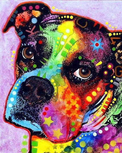 dean Russo Painting Dog Dogs Portrait Graffiti pop Art Pet Pets Etsy Boxer Boxers Pop Puppy Painting - Young Boxer by Dean Russo