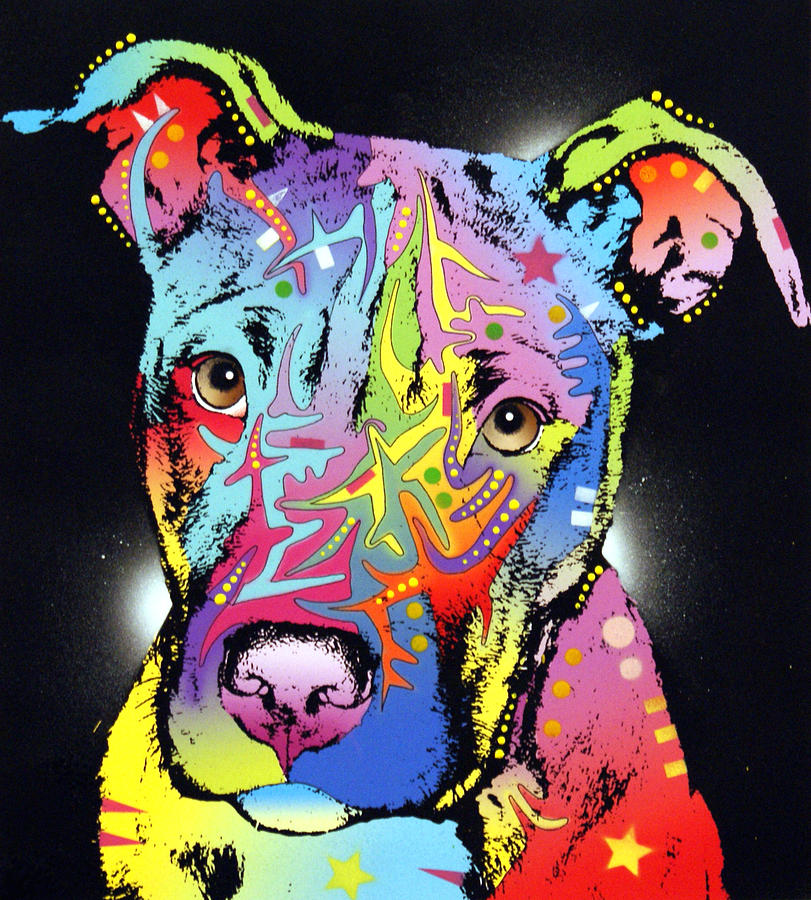 Dog Painting - Young Bull Pitbull by Dean Russo