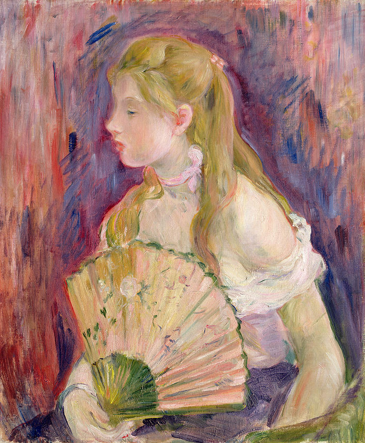 Young Painting - Young Girl With A Fan by Berthe Morisot