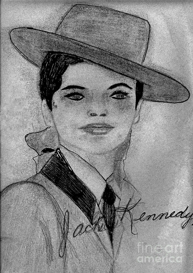 Jackie Kennedy Drawing - Young Jackie Kennedy by Sonya Chalmers