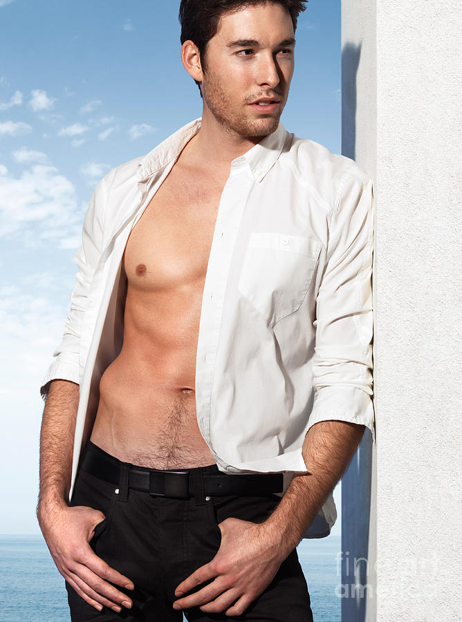 Man Photograph - Young Man In Unbuttoned Shirt by Oleksiy Maksymenko