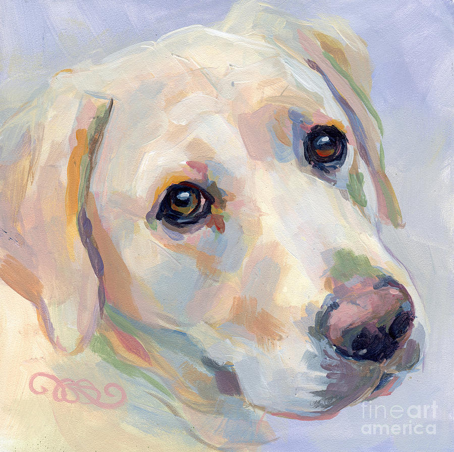 Yellow Lab Painting - Young Man by Kimberly Santini