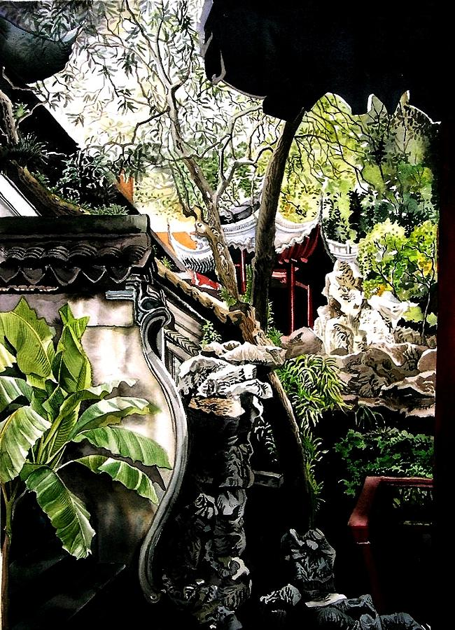 Garden Painting - Yu Garden In Shanghai by Alfred Ng