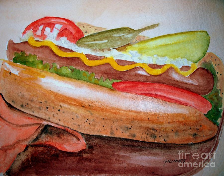 Hot Dog Painting - Yummy Chicago Dog by Carol Grimes
