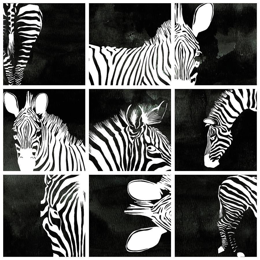 Zebra Decorative Black And White Wall Art Multyptych 3 ...