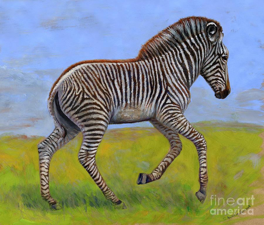 Zebra Painting - Zebra Foal  by Svetlana Ledneva-Schukina