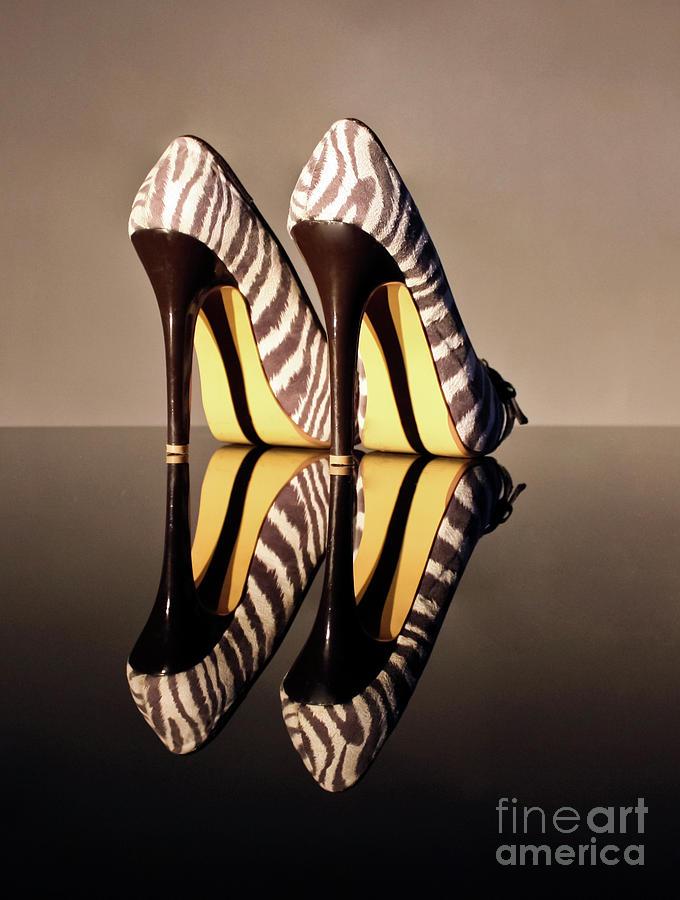 Zebra Print Shoes Photograph - Zebra Print Stiletto by Terri Waters