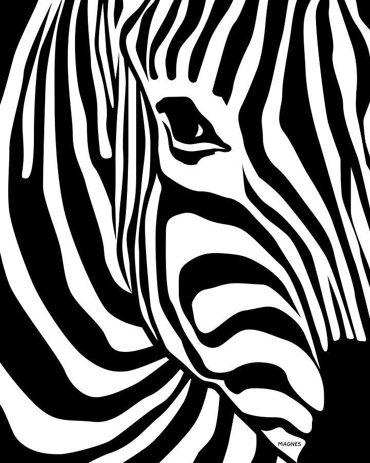 Zebra Digital Art - Zebra by Ron Magnes