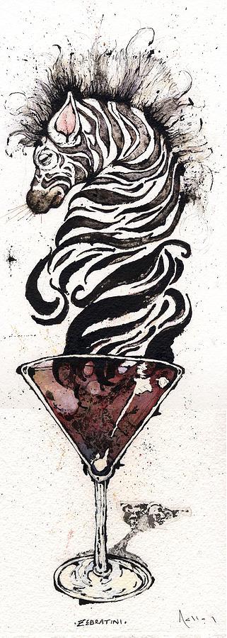 Zebras Painting - Zebratini by Mark M  Mellon
