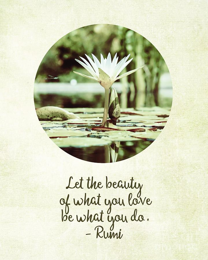 Zen Flower Water Lily With Inspirational Quote Painting
