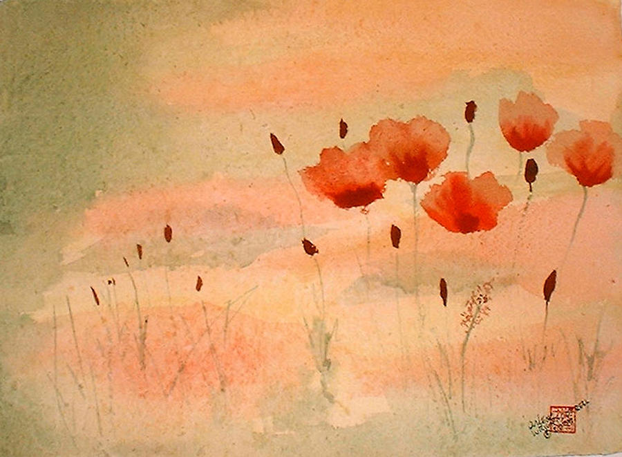 Poppies Painting - Zen Poppies by Arlene  Wright-Correll