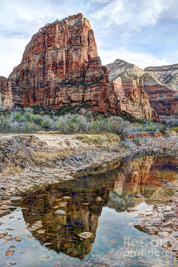 Zions National Park Angels Landing - Digital Painting Photograph