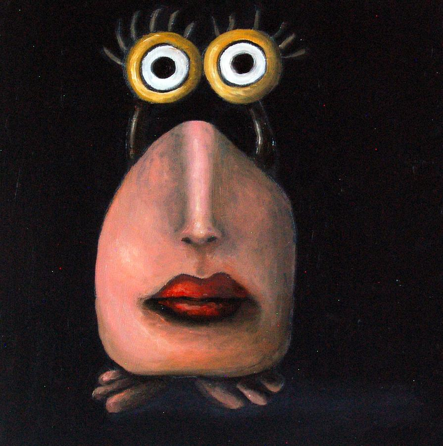 Alien Painting - Zoe 2 The Little Alien by Leah Saulnier The Painting Maniac