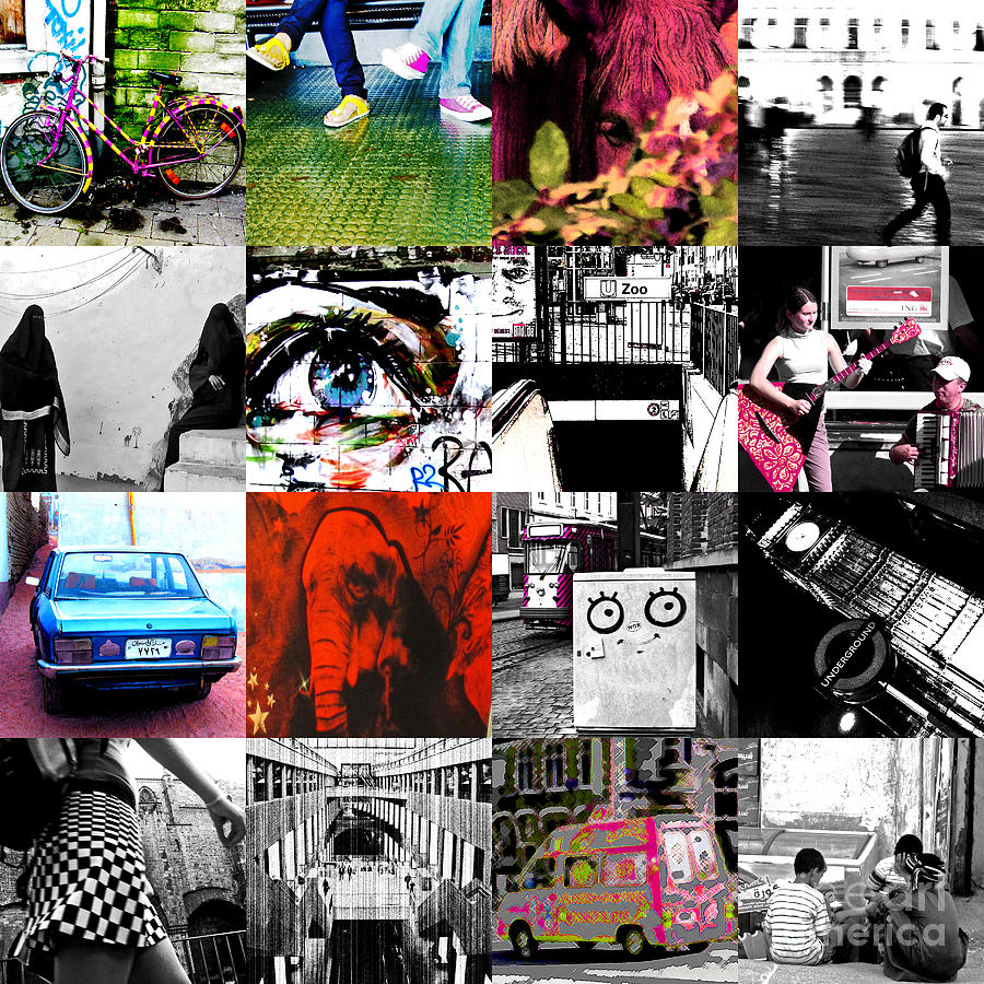 Collage Colage Collague Achtung Baby U2 Cover Portada Zoo Baby Album 16 4x4 Colours Europe World Elephant Car Arabian Train Station Photograph - Zoobaby by Enrique Collado