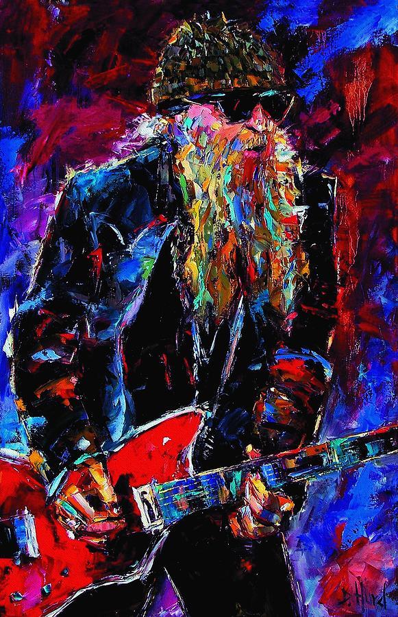 Music Painting - Zz Top Billie Gibbons by Debra Hurd