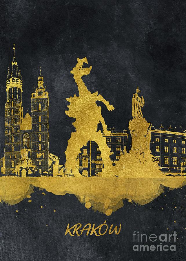 Krakow Skyline Gold Black Digital Art