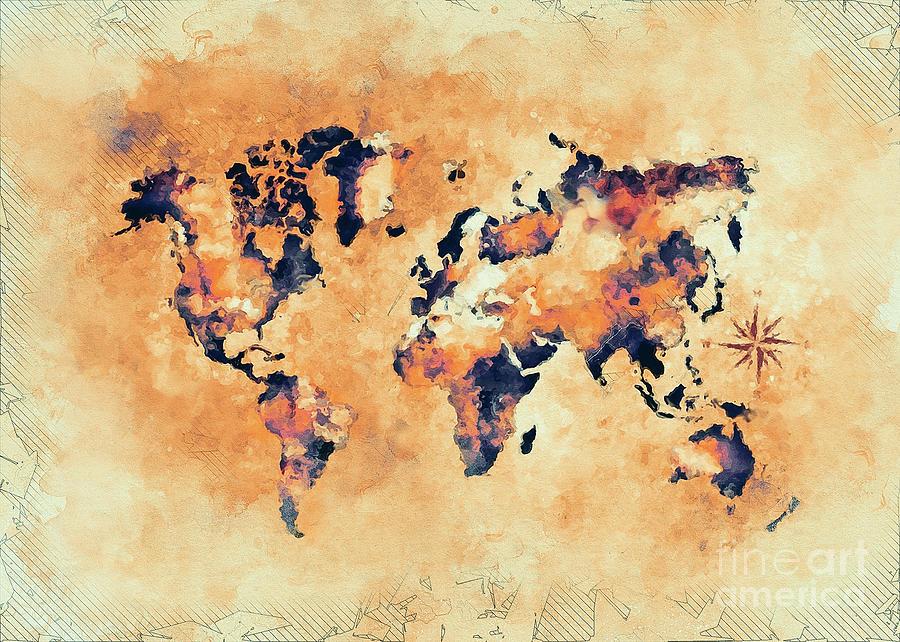 World Map Brown Digital Art