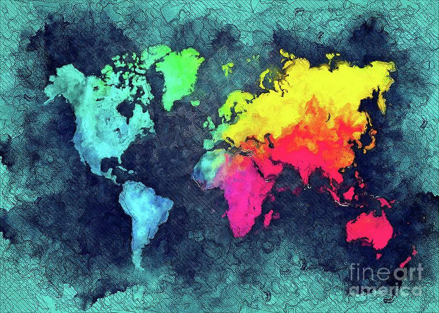 World Map Colors Digital Art