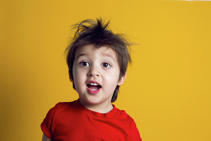 Cheerful Baby Boy In Red T-shirt Stands Photograph