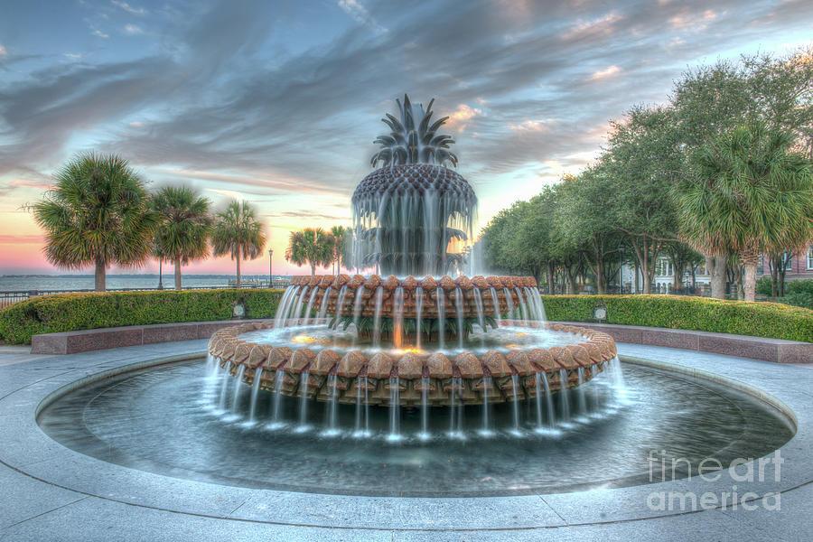 Pineapple Fountain Sunset - Charleston Sc Photograph