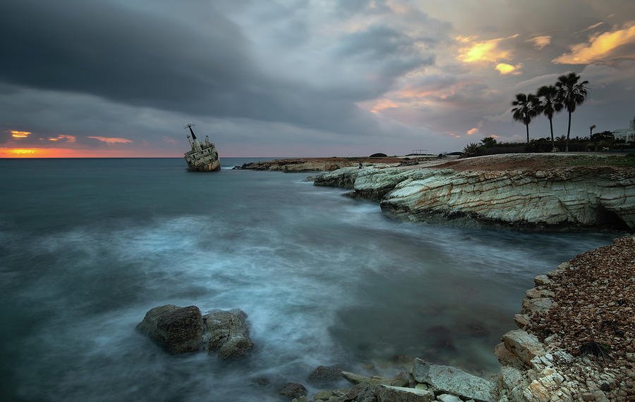 Abandoned Ship Of Edro IIi Resting On The Coastline Of Peyia In Photograph