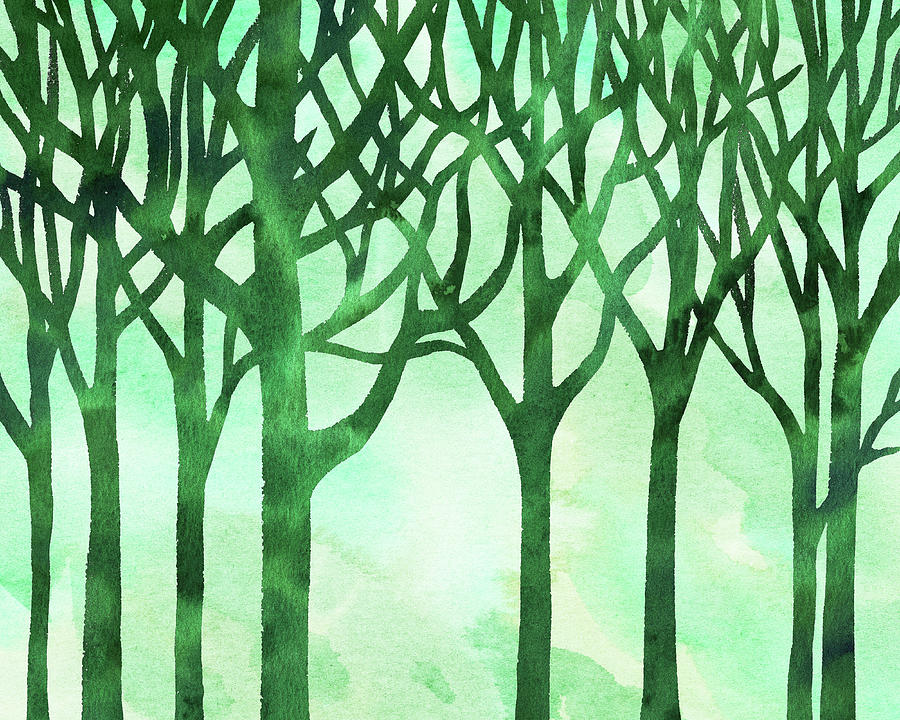Abstract Green Marble Watercolor Forest Painting