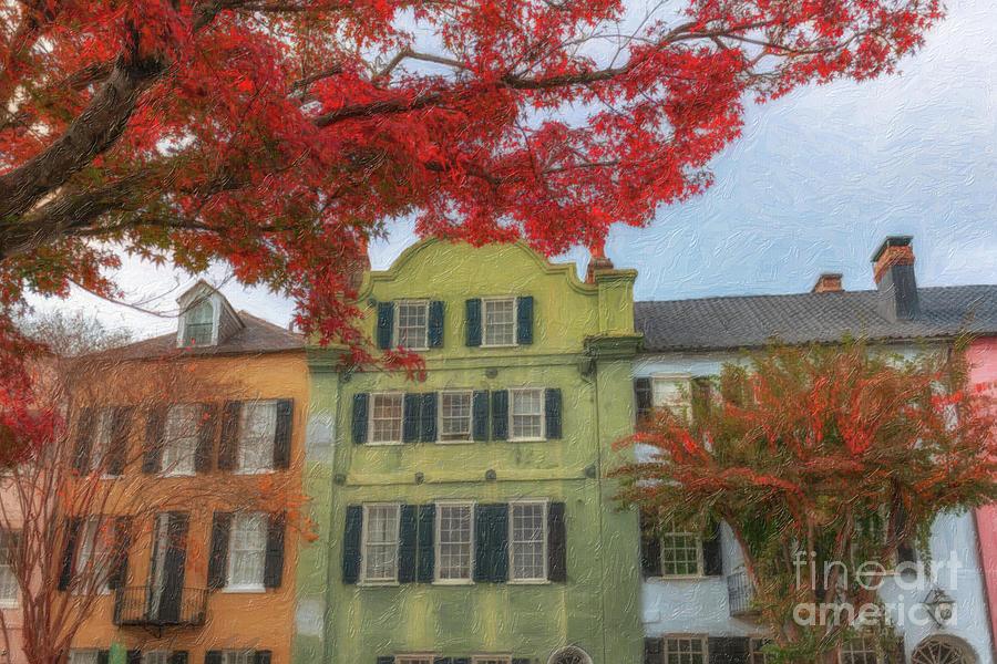 Autumn Colors - Rainbow Row Painting