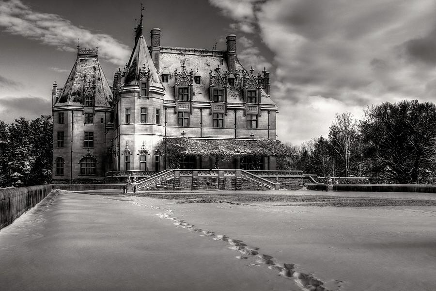Biltmore House From The Tea Room In Snow In Black And White Photograph