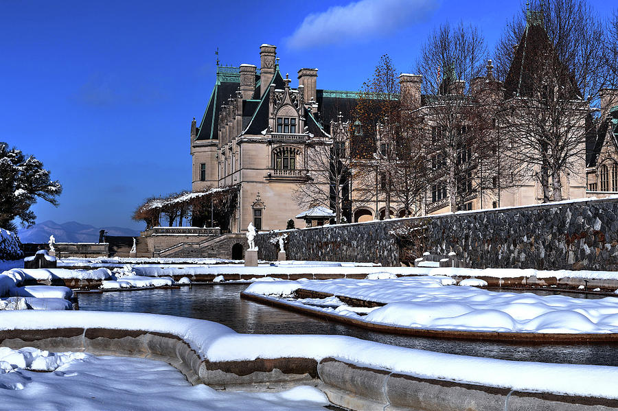 Biltmore Itailian Gardens Covered In Snow Photograph