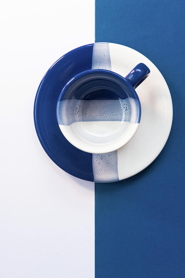 Blue And White Empty Coffee Mug Photograph