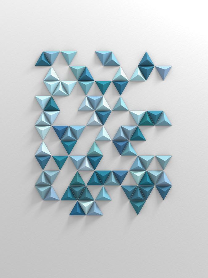 Blue Triangles Digital Art