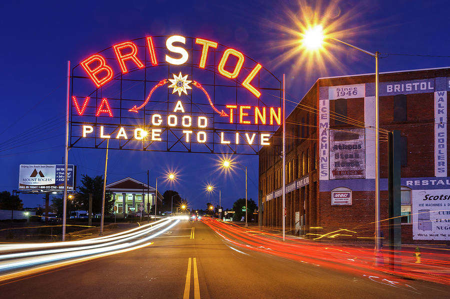 Bristol Sign In Orange And Maroon 3 Photograph