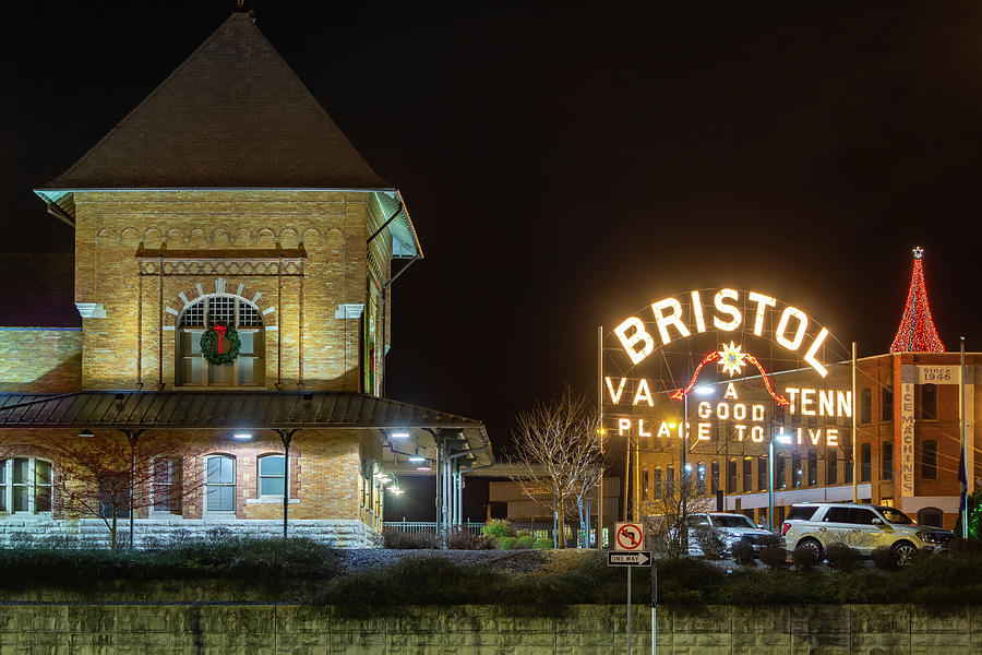 Bristol Sign, Train Station, And Christmas Tree Photograph