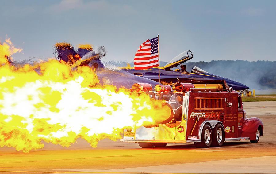 Burst Of Flames Jet Fire Truck Photograph