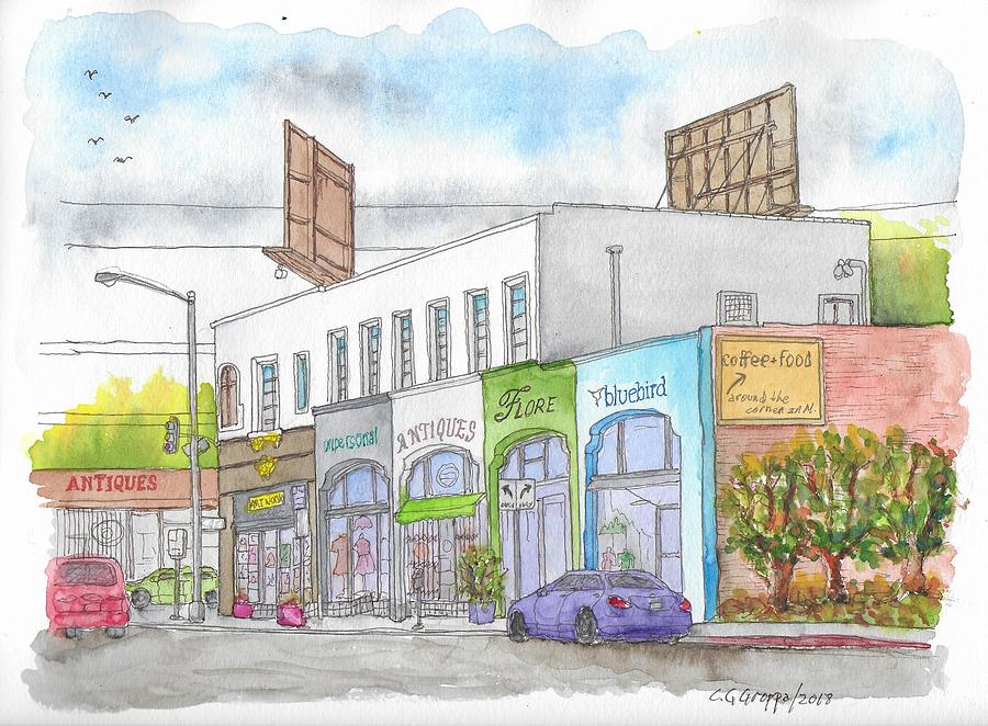 Business Stores In Larchmont And Melrose Ave., Hollywood, California Painting
