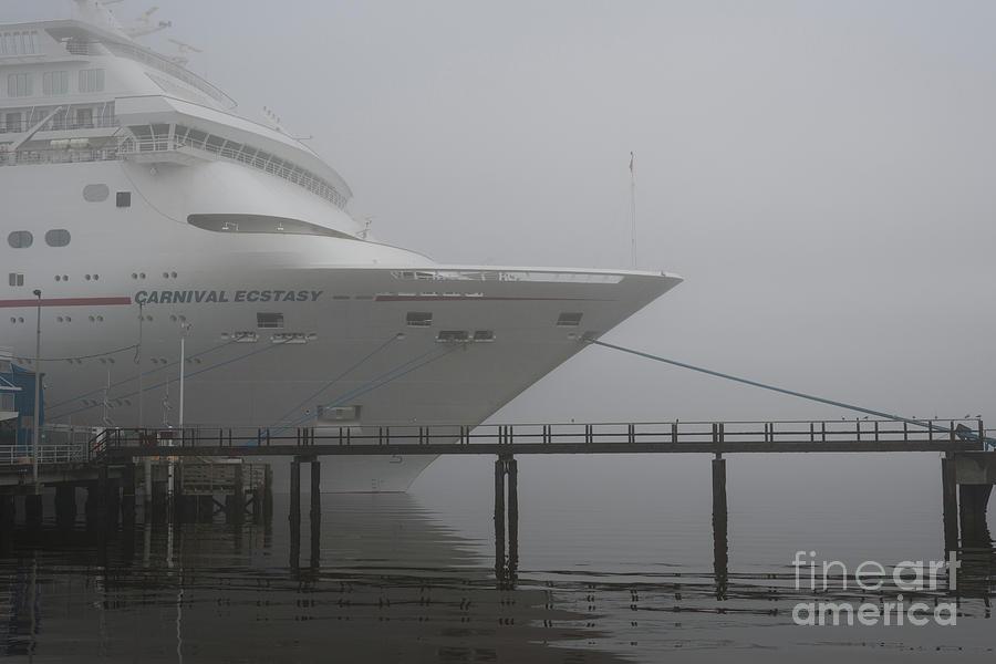 Carnival Cruise Ship In The Charleston Fog Photograph
