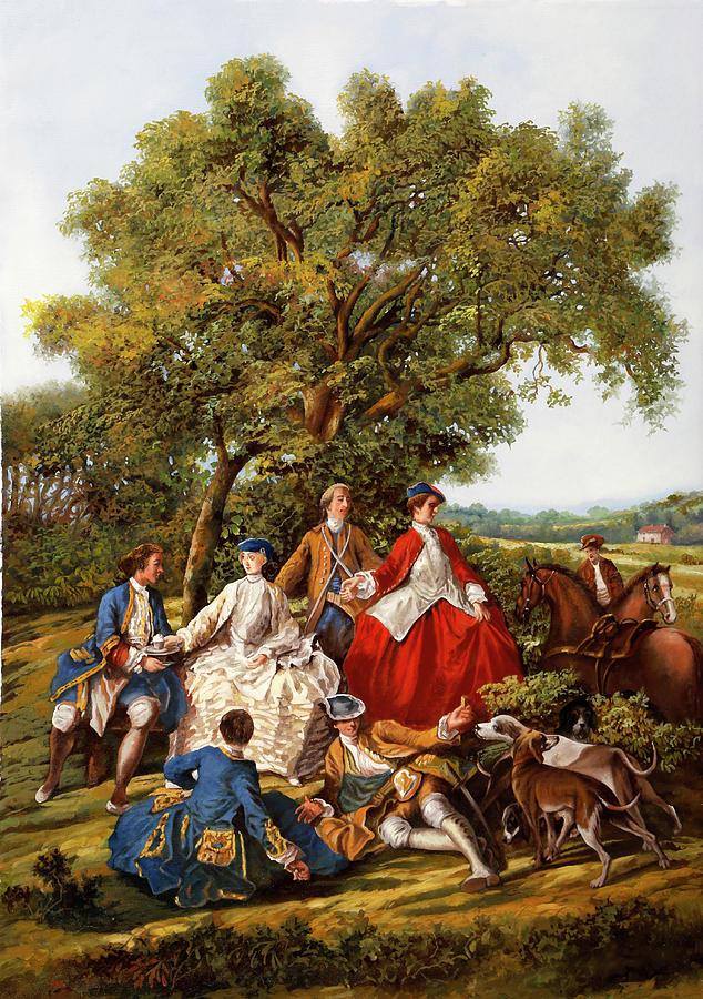 Cavalli E Segugi Painting