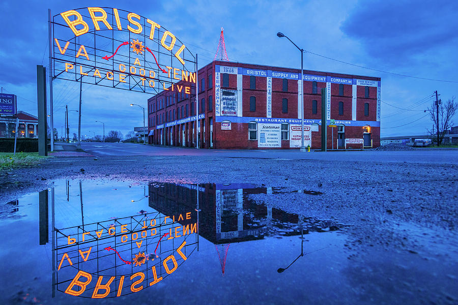 Christmas Tree And Bristol Sign Reflection Photograph