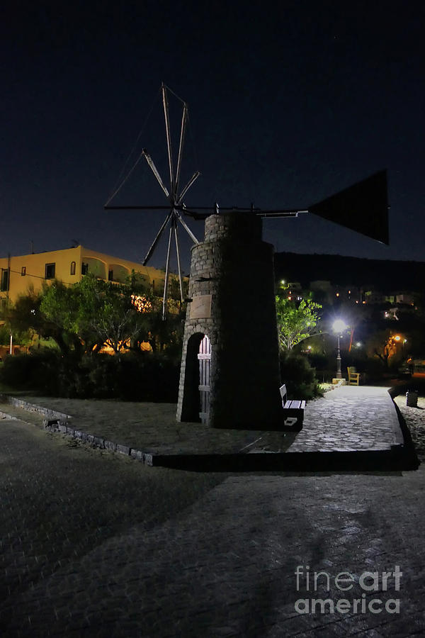 Cretan Windmill At Night Photograph
