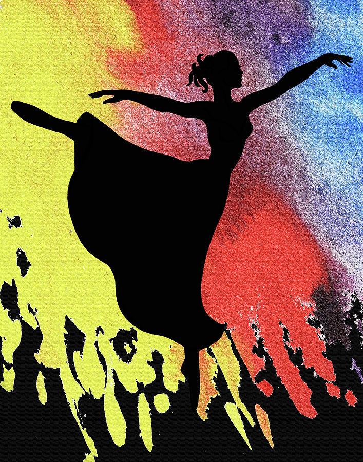 Dancing With Watercolor Ballerina Silhouette IIi Painting