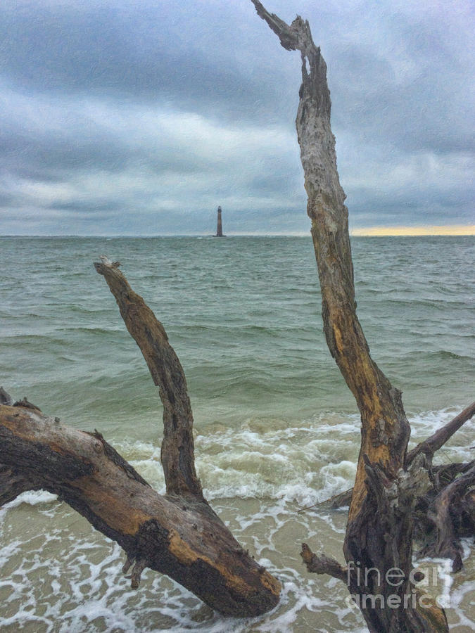 Dead Wood Lighthouse View - Morris Island Lighthouse Painting