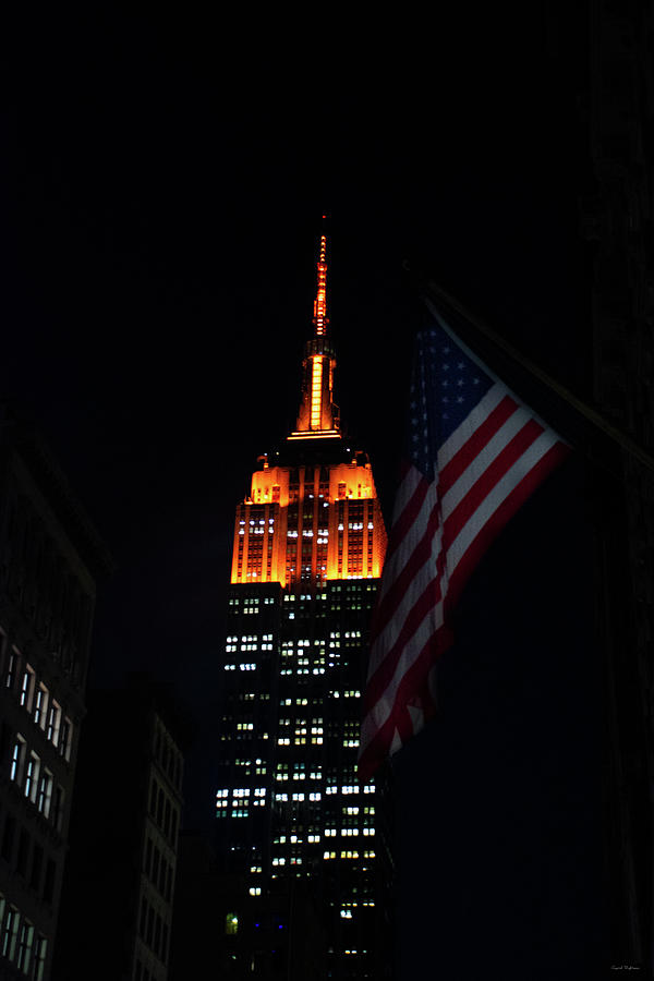 Empire State Building American Flag Photograph