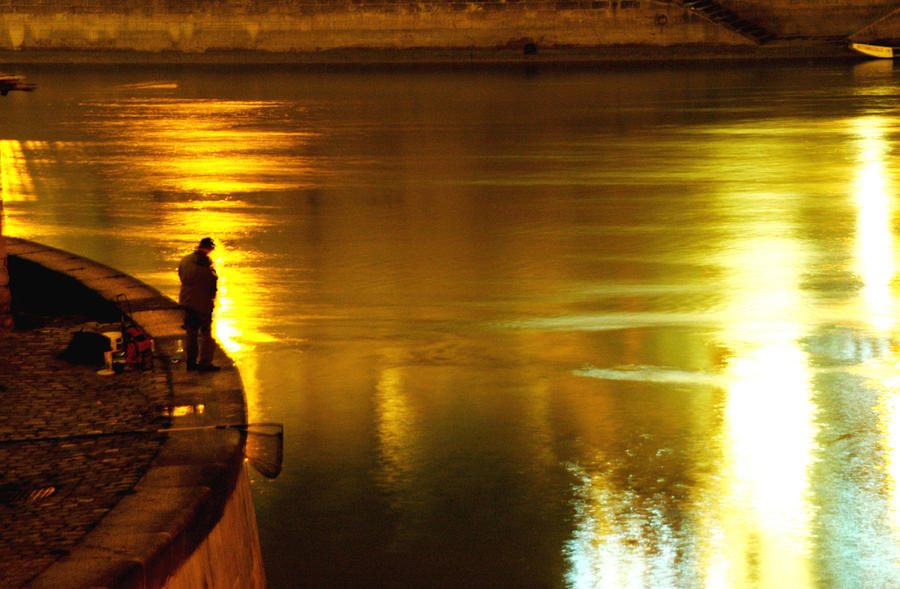 Fisherman At The Danube Canal Photograph